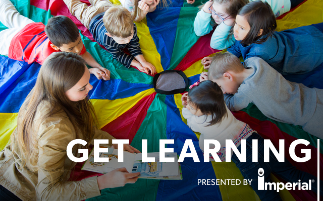 Kids reading with Get Learning presented by Imperial logo