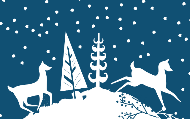 Illustration of reindeer with evergreens in white on a blue, snowy backdrop.