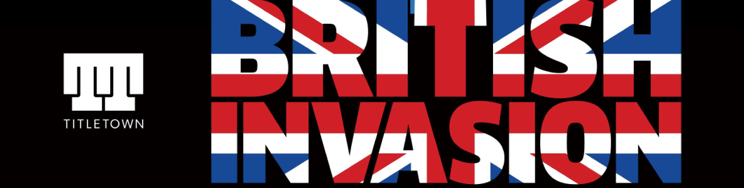 Graphic featuring iconic London destinations in black on blue background with the words British Invasion in the pattern of the UK flag.