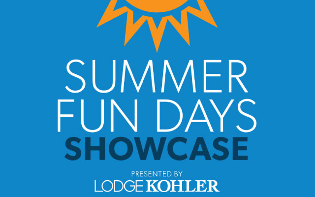 Sun graphic with Titletown logo in it. Details for Summer Fun Days Showcase presented by Lodge Kohler on Saturday, June 1, 2019.