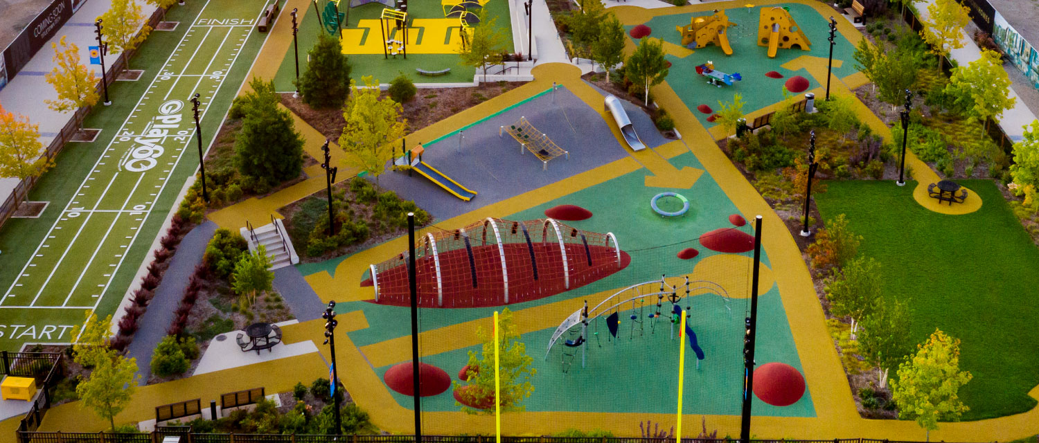 Aerial picture of the Titletown Playground