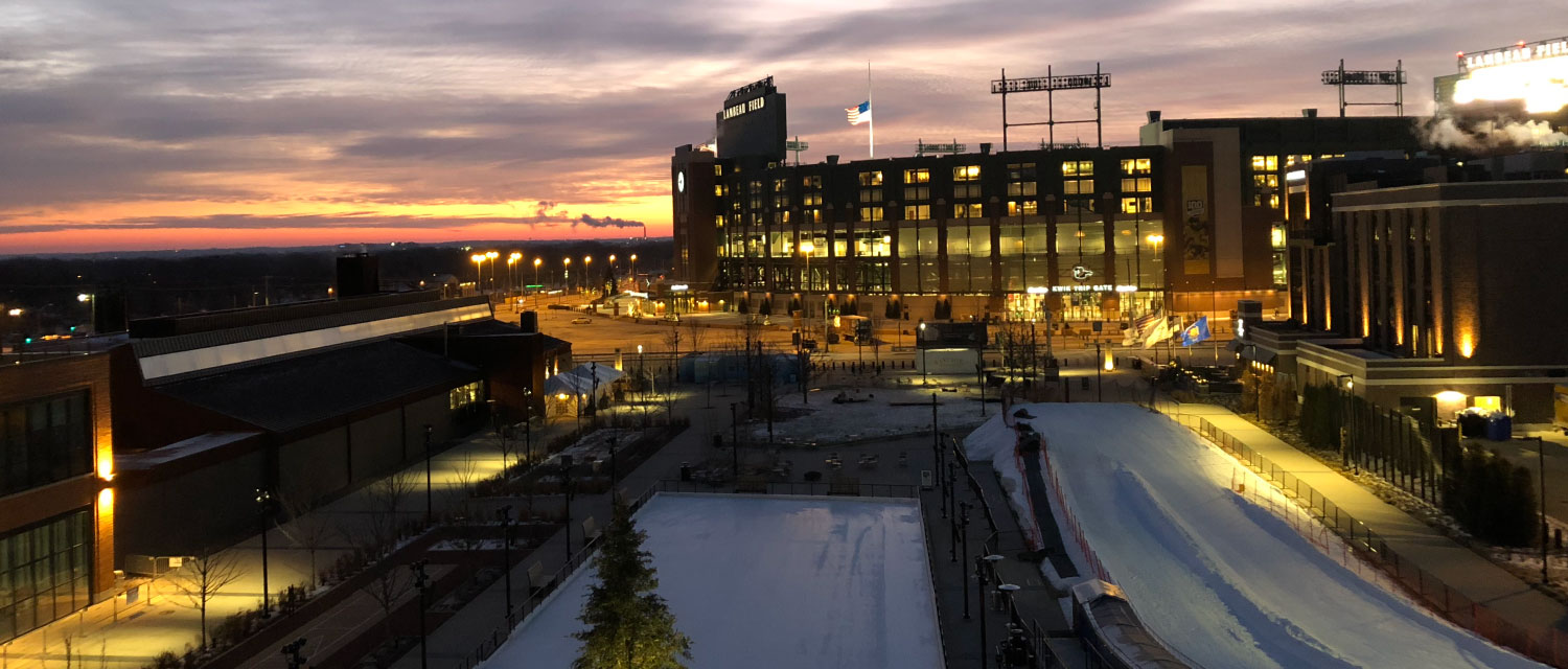 sunset over Titletown